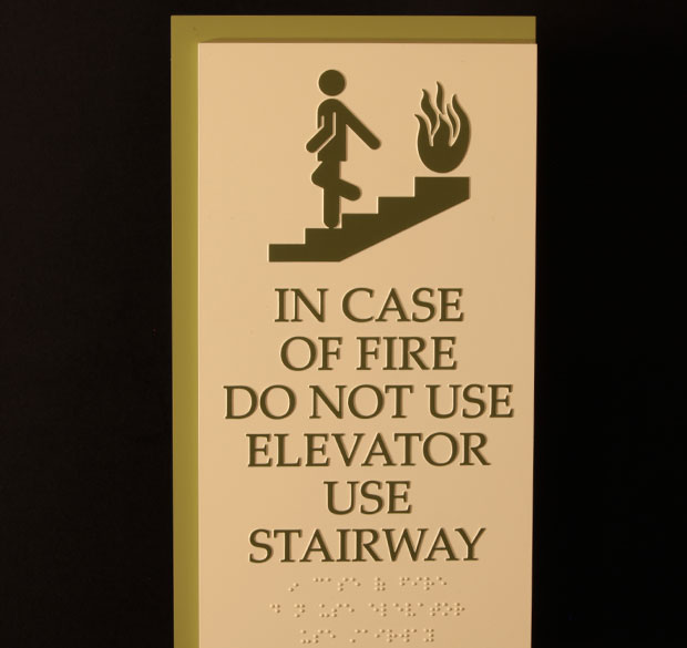 Park Place Sign Systems ADA Compliant Braille Stairway Sign   Park Place  Sign Systems