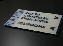 Custom Acrylic - exit to courtyard
