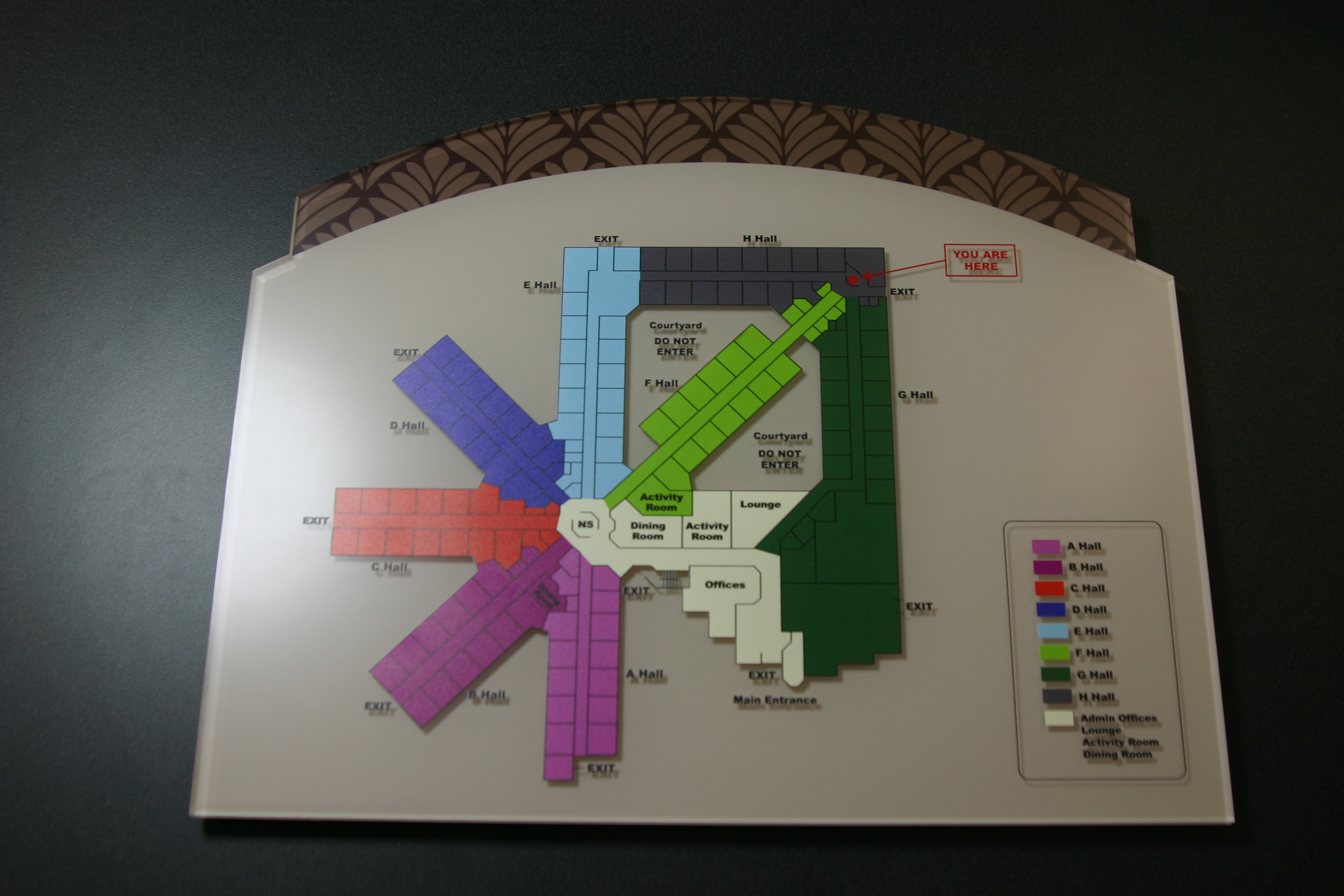 """.25"""" non-glare acrylic with subsurface digitally printed graphics and surface applied digitally printed map graphics."""