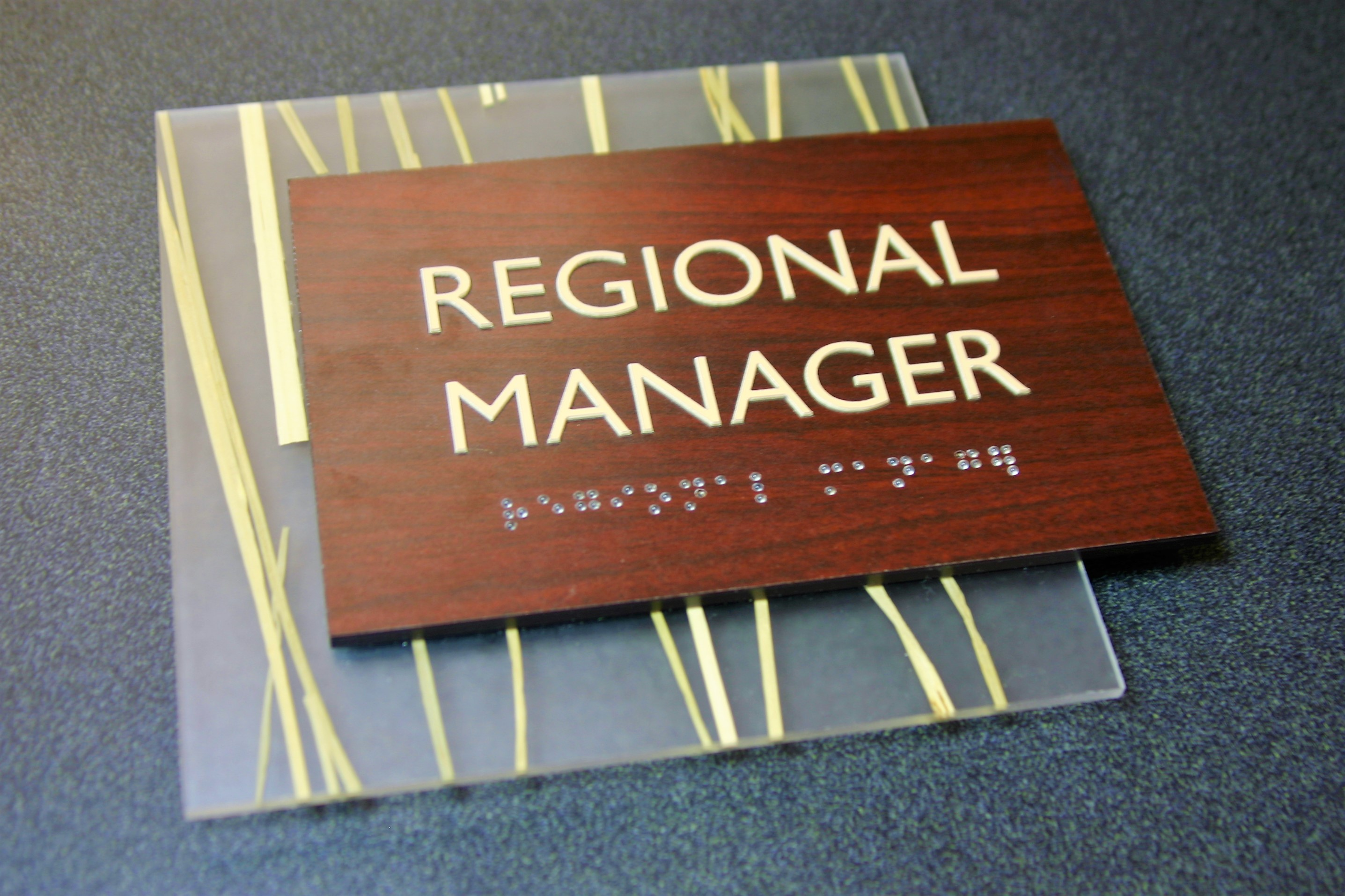 """Wood laminate faceplate applied to .125"""" thick black acrylic with surface applied raised text and friction fit clear raster braille. .125"""" thick 3Form decorative backplate."""