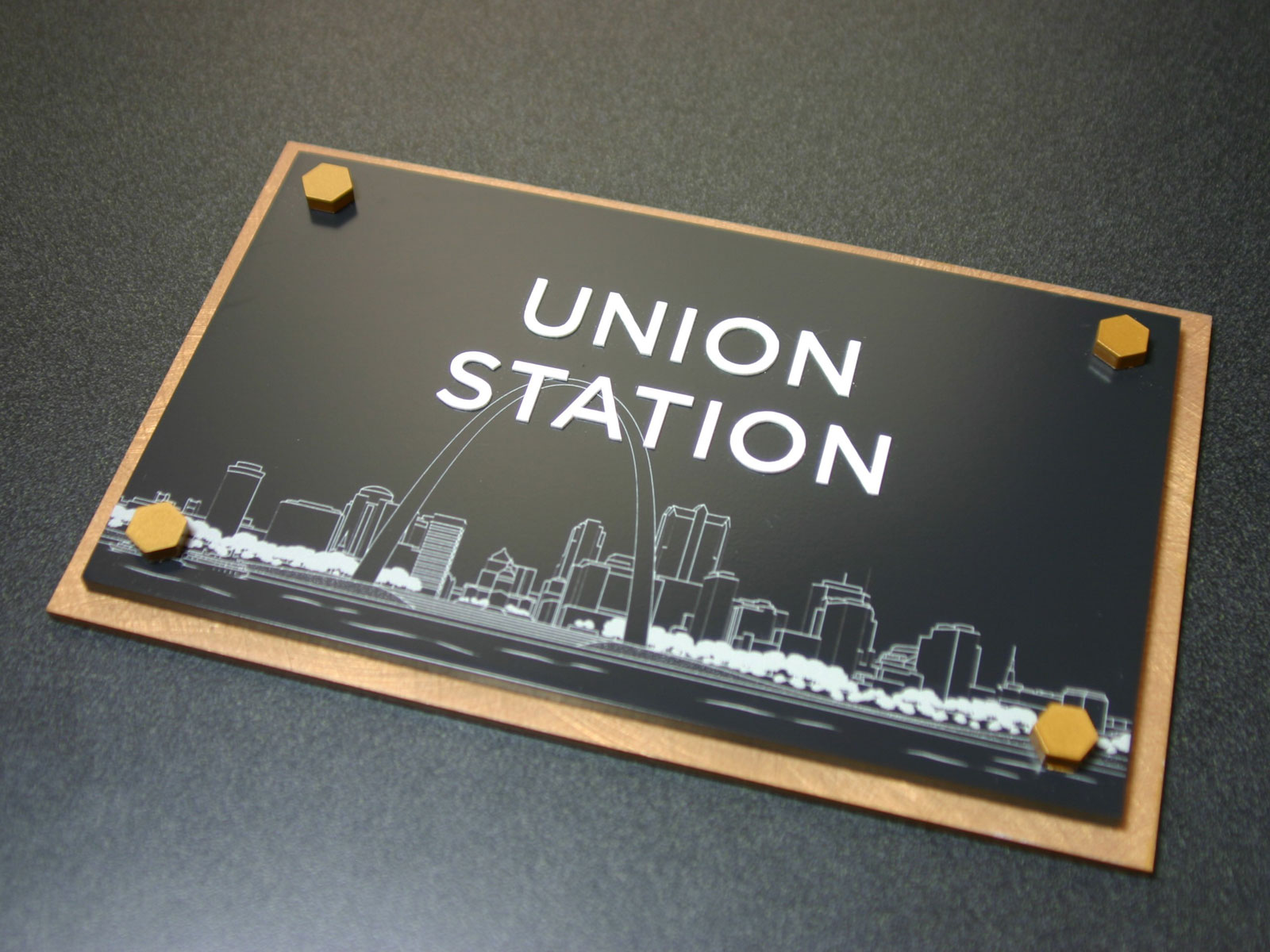 """.125"""" thick acrylic faceplate with surface applied finish paint, digitally printed graphics and raised text. Laser cut and surface painted decorative hex heads. Backplate is Chemetal bronze laminate material applied to .125"""" thick acrylic with painted edges."""